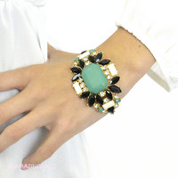 Crystal Garden Green and Black Jewel Bracelet