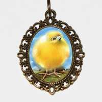 Baby Chick Easter Necklace Oval Pendant