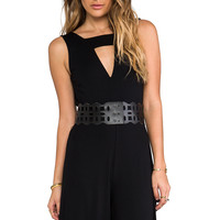 BB Dakota Alvy Laser Cut Jumpsuit in Black