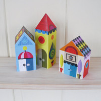 3 little houses paper craft kit by EllenGiggenbach on Etsy