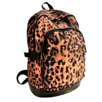 Leopard Print Studded Rivets School Shoulder Bag Backpack