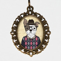Dog With Glasses Necklace Oval Pendant