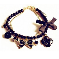 Women's Black Rose  Bracelet