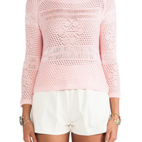 Jack by BB Dakota Calida Novelty Stitch Sweater in Crystal Rose
