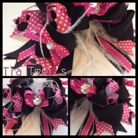 Hot Pink and Black Minnie Mouse Hair Bow