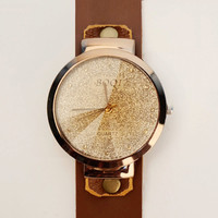 LAMONTRE-Vintage Style Sparkling Dial Leather Watch-Women Retro Leather Wrist Watch