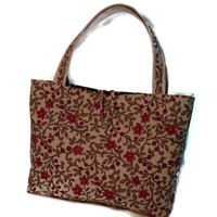 Tote Purse Floral Stars Red Orange Flowers Green Vines Tote Bag