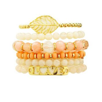 LEAF & LOVE BEADED STRETCH BRACELETS - 6 PACK