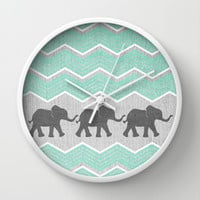 Three Elephants - Teal and White Chevron on Grey Wall Clock by Tangerine-Tane | Society6