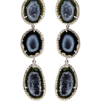 One Of A Kind Triple Geode And Diamond Detachable Earrings by Kimberly McDonald - Moda Operandi