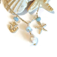 Come sail away amazonite, pearl and gold necklace