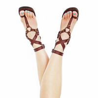 Leather sandals Ankle wrapping High End quality by Shovavaleather