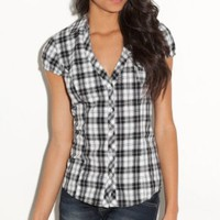 G by GUESS Jisandray Plaid Top