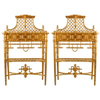 19th Century Rare Pair of French Latticed Gilt Wood Chinoiserie Plant Holders
