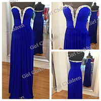 Sweetheart Long Prom Dresses / Evening Dresses Floor Length Cocktail/ Evening Dresses/Wedding dress/Homecoming dress
