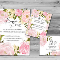Chic Wedding Invites, Printable wedding invitation, Rustic Wedding Invite, DIY digital invitation set Floral