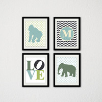 "Set of Four Baby Boy Nursery Wall Art. Custom Initial. Chevron. Zoo Animals. Elephant. Gorilla. Love Typography. Green. Blue. 8.5x11"" Prints"