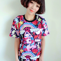 Harajuku Rainbow Unicorn Tee-Shirt