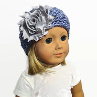 18 Inch Doll Hat Purple Gray Flower