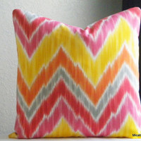 Flame Chevron outdoor pillow cover, fabric both sides, all sizes available