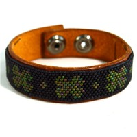 Green Clovers Mens Leather Bracelet