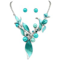 Silvertone Teal Painted Flower Necklace and Earring Set