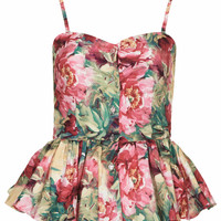 **MULTI FORAL PEPLUM TOP BY RARE