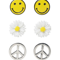 LOVEsick Daisy Peace Smiley Earrings 3 Pair