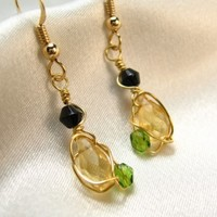 Citrine Briolette Gemstone Wire Wrap Green Black Crystal Gold Earrings
