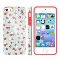 Akna Glamour Series Flexible TPU Soft Back Case for iPhone 5 5S [English Flower]