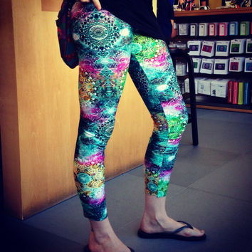 The Sacred Geometry Psychedelic Explosion Leggings - Great for yoga, festivals, EDM, partying, raves, Burning Man, dance, silks, etc.