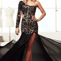 Embellished Slit Gown by Mac Duggal Prom