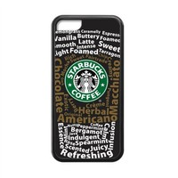 Laser CTSLR Custom Starbucks Logo Protective TPU Case Cover Skin for Cheap Apple iPhone 5C-1 Pack- Black - 1