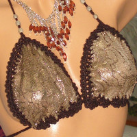 Brown Bikini Top-Mother's Day Gifts -Handmade-Lace-Swimsuit-Bikini-Mother's Day Gifts-Sexy Swimsuit