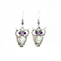 Purple and Silver Owl Earrings
