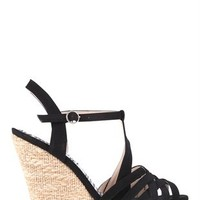 Platform Canvas Wedge Heel with Intertwined Upper and Ankle Strap