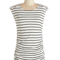 Fluent in Fashion Top in Stripes | Mod Retro Vintage Short Sleeve Shirts | ModCloth.com