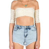 Laced Off The Shoulder Crop Top