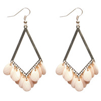 Diamond Cutout Dangling Stones Earrings | Wet Seal