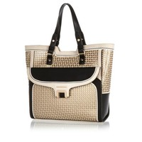 Beige laser cut tote bag