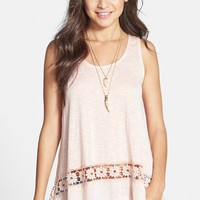 Painted Threads Crochet Hem Tunic Tank (Juniors)