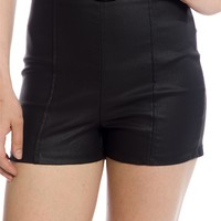 Rock On Faux Leather High Waist Shorts - Black