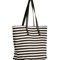 Black/Creme Striped Canvas Tote
