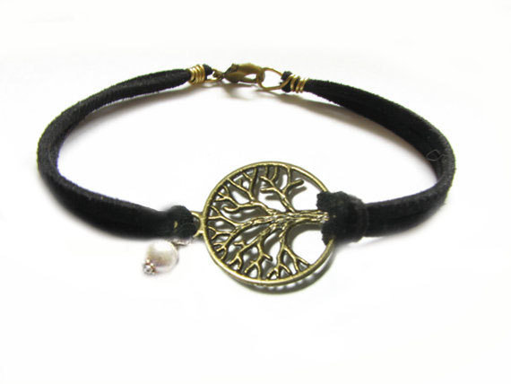 Tree Bracelet Wire Wrapped Black Leather Suede by JSCJewelry