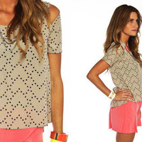 Furor Moda - Taupe Hearts Top