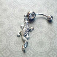 Crystal Rhinestone Geico Belly Button Ring
