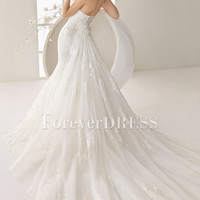 Glamorous Sweetheart Strapless Embroidery Mermaid Empire Chapel Train Wedding Dress