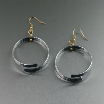Chased Aluminum Bark Hoop Earrings