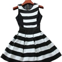 Slim Black and White Striped Dress