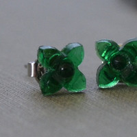 Emerald Green Earrings, Floral Earrings, Green Glass Studs, Petite and Dainty, Stud, Post Earrings